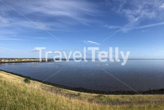 Panorama from campers at the coast of the wadden sea in The Netherlands