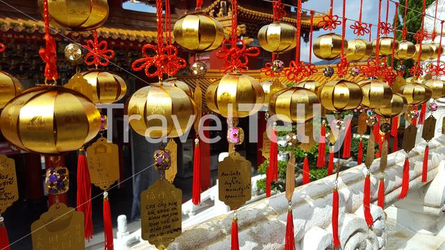 Golden objects in the Wenwu Temple at the Sun Moon Lake Taiwan