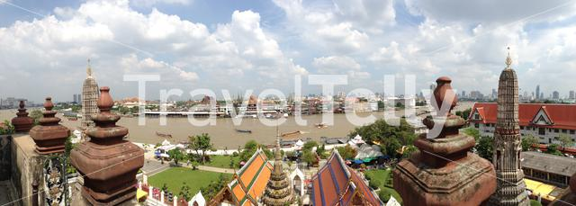 Panoramic view from Bangkok seen from the Wat Arun in Thailand