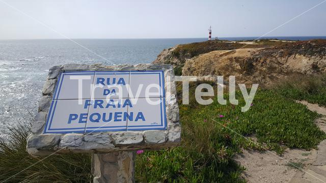 Sign from Praia Pequena in porto covo Portugal