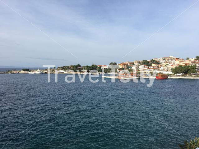Harbour with traditional cruise ships in Neos Marmaras Greece