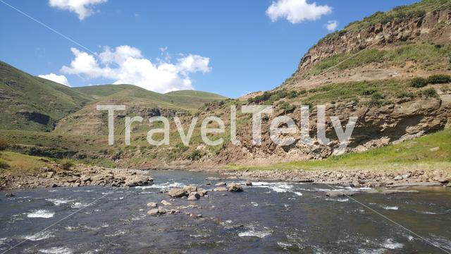 Wild river in Lesotho Africa