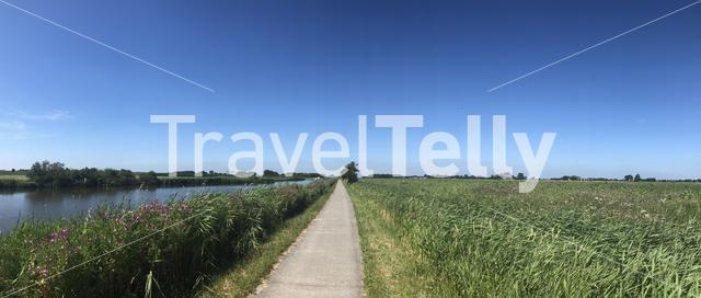 Panoramic landscape from around Engwierum, Friesland, The Netherlands