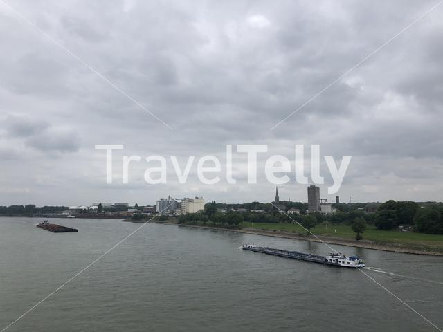 Cargo ships on the river Rhein around Wesel in Germany