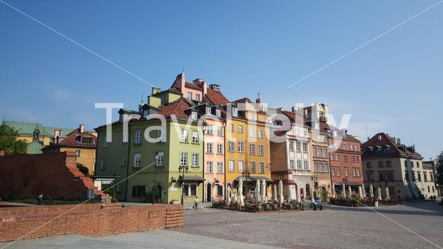Colourful houses in historic Centre of Warsaw, Poland