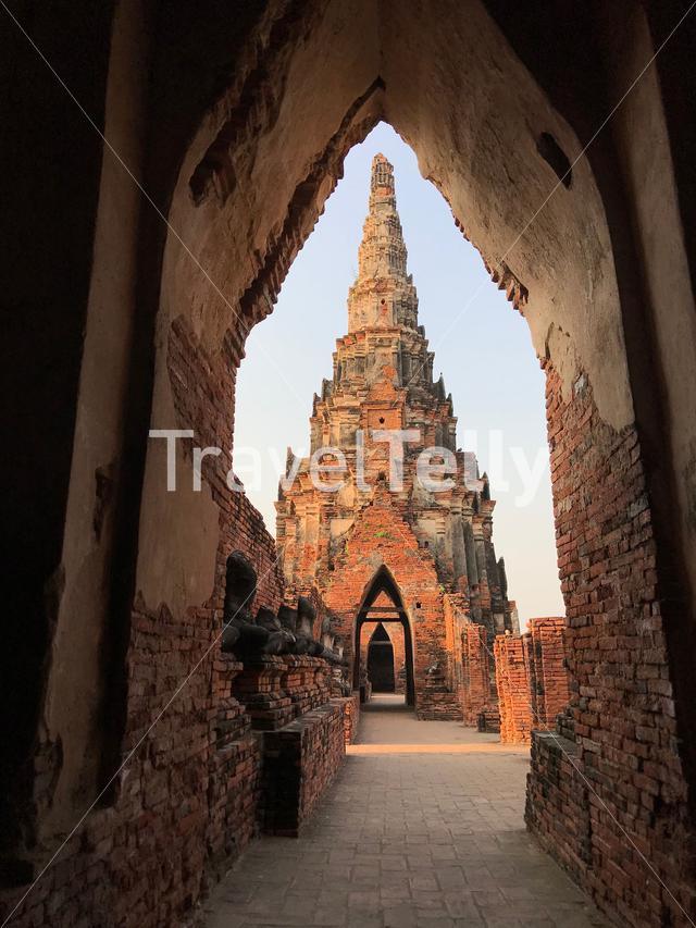Gate in chedi-shaped chapel at Wat Chaiwatthanaram a Buddhist temple in Ayutthaya Thailand
