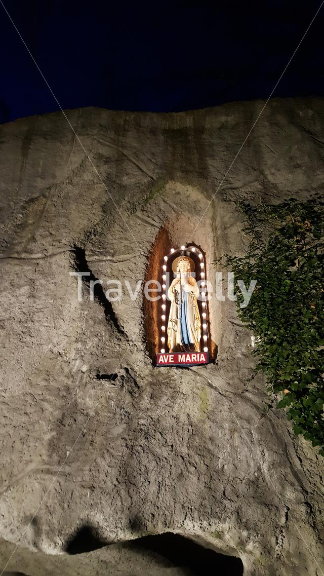 Lourdes cave with Maria statue in Holland