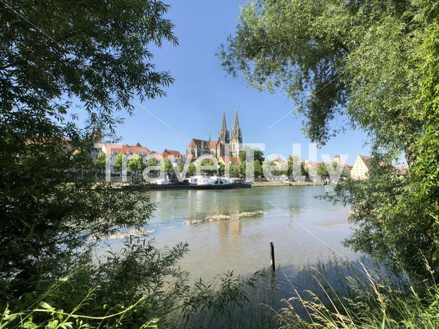 St Peter Cathedral and the Danube river in Regensburg, Germany