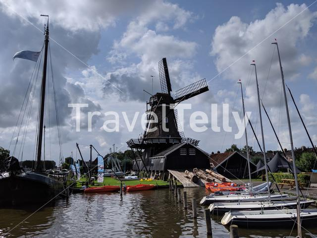 Sail school around the windmill in Woudsend, Friesland The Netherlands