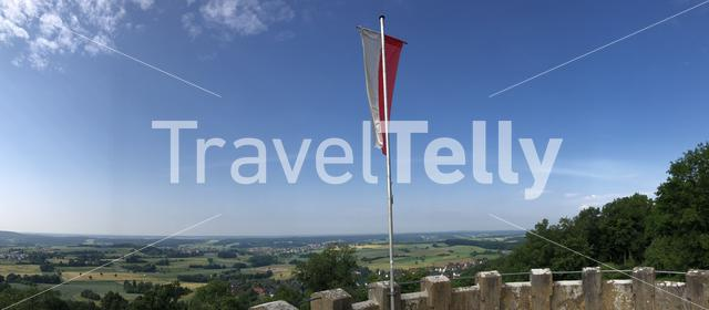 Panorama from a flag on the tower of the Altenburg Castle in Bamberg Germany