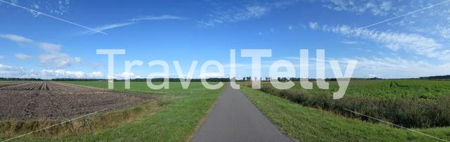 Panoramic landscape from farmland around Bruntinge in Drenthe, The Netherlands