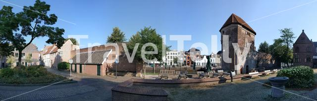 Panoramic view from around the Wine carrier tower in Zwolle, The Netherlands