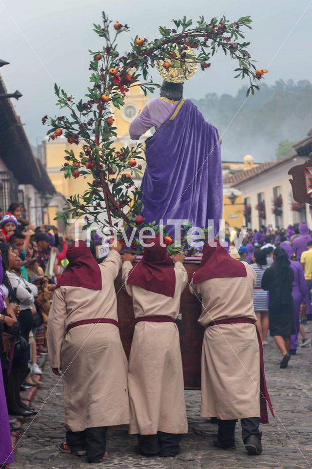 Procession in the Streets of Antigua Guatemala the week before Easter