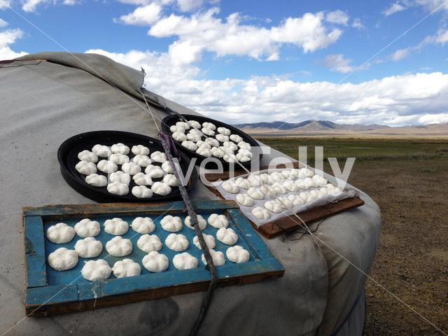 Aaruul drying at an traditional yurt in Mongolia