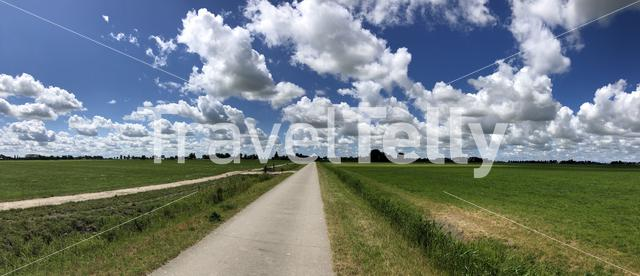 Panorama from a cycle path in Friesland The Netherlands
