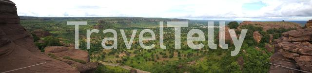 Panorama from the scenery around arch of kamandjan in Siby Mali, Africa