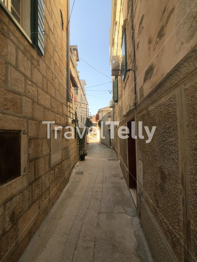 Street in the old town of Supetar in Croatia