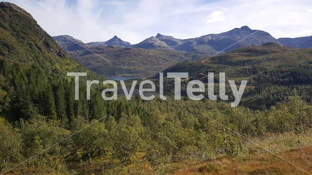 Beautiful mountain range landscape in Moysalen National Park Norway