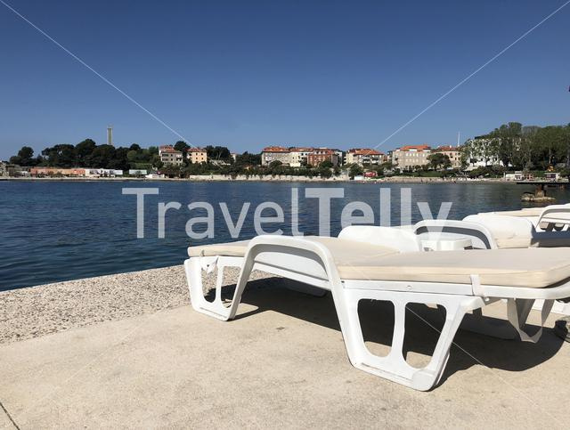Sunbed at Bacvice beach in Split Croatia