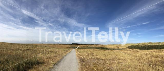 Panoramic landscape from Ameland island in Friesland, The Netherlands
