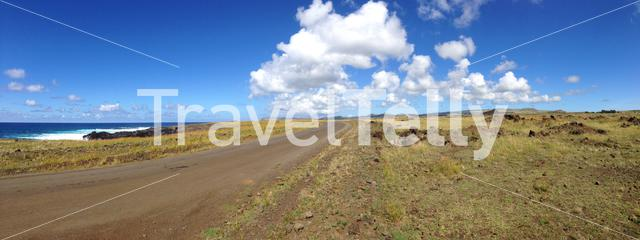 Panorama from the road at Easter Island