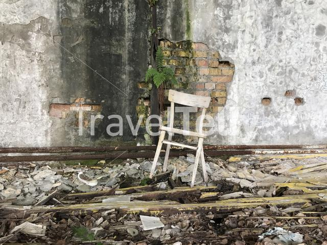 abandoned building with a chair in Pripyat, Ukraine