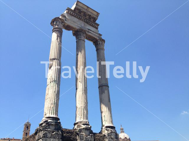 Pillars of the temple of caesar in Rome Italy