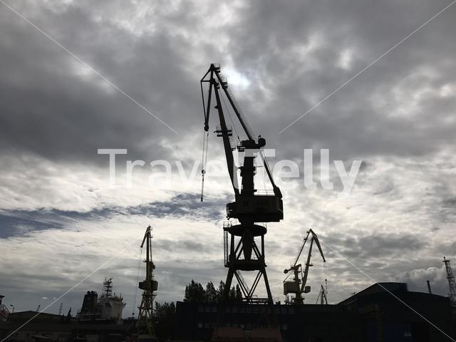 Cranes in Nowy Port Gdansk Poland