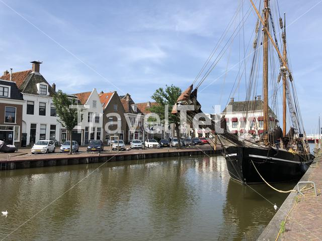 North harbor canal in Harlingen, Friesland The Netherlands