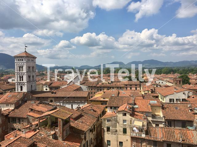 View of Lucca from atop the Torre delle Ore in Lucca, Tuscany, Italy.