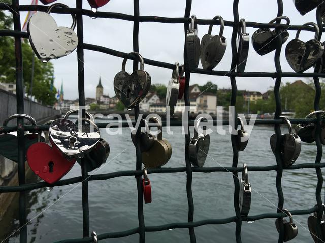 Love locks at the Mühlesteg bridge in Zurich Switzerland