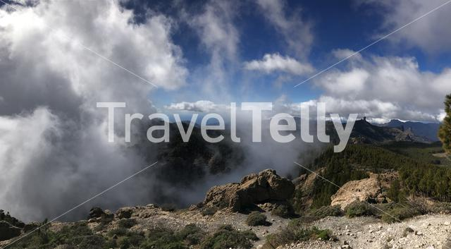 Panorama from clouds at Pico de las Nieves the highest peak of the island of Gran Canaria