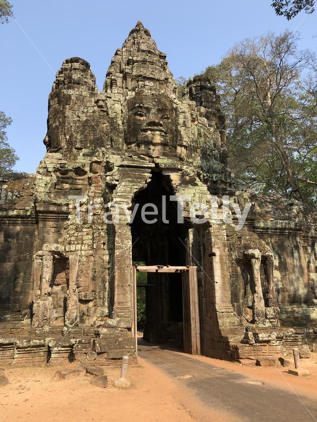 The Victory Gate at Angkor in Cambodia