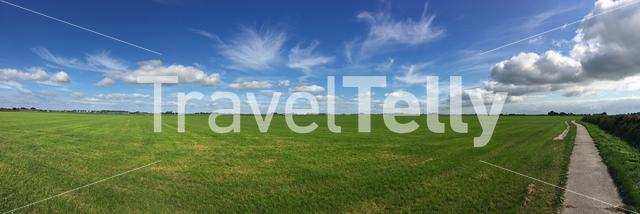 Panorama from a frisian landscape in The Netherlands