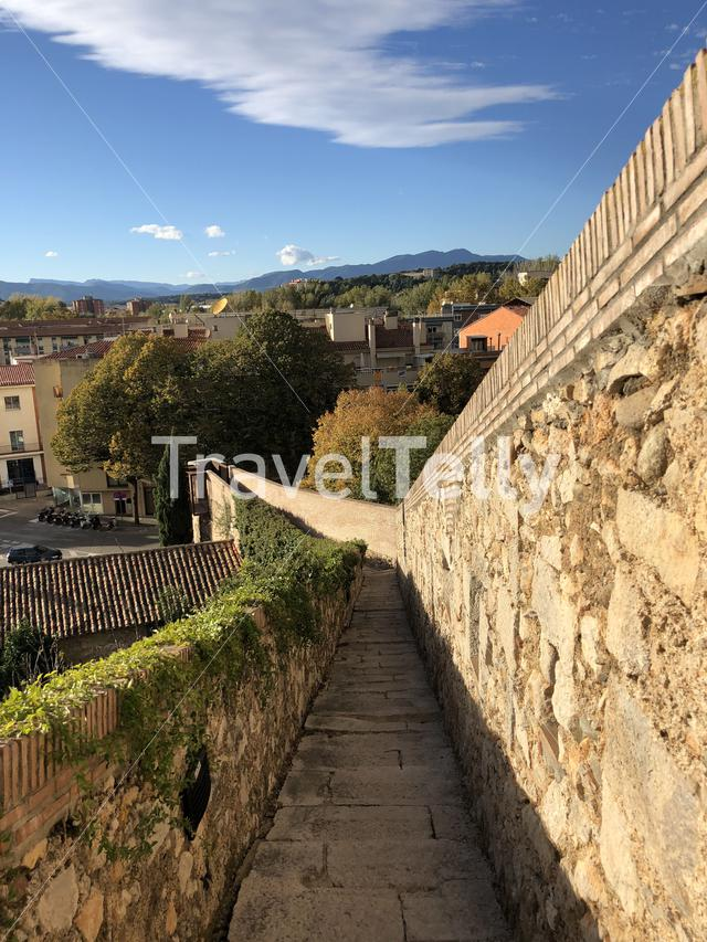 City wall in Girona, Spain