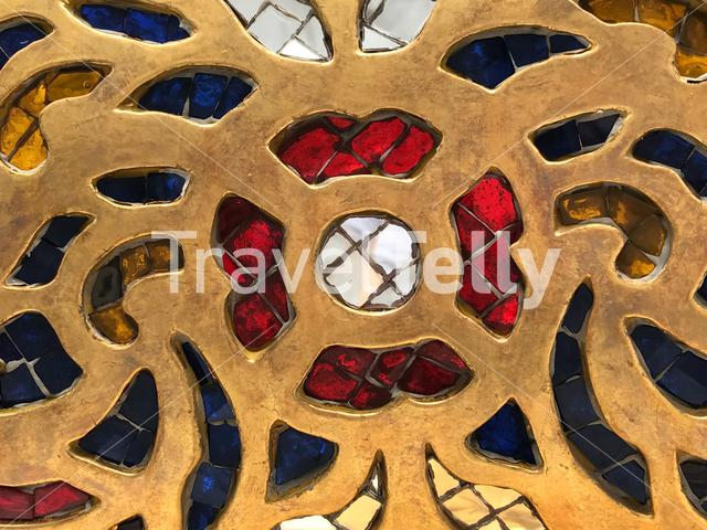 Flower pattern from the Wat Trai Mit Golden Buddha Temple in Bangkok Thailand