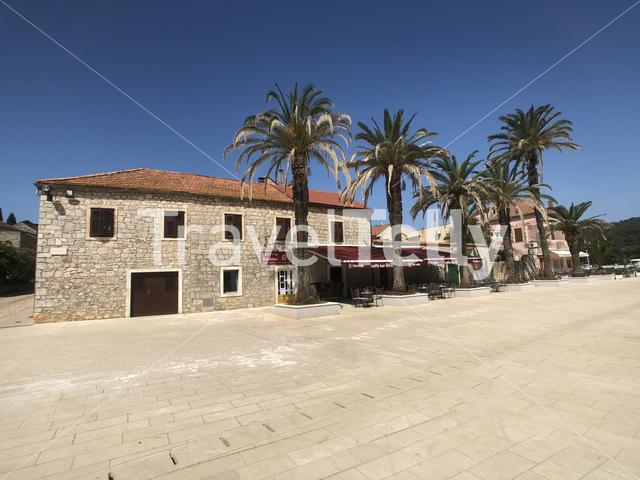 Square at the Tvrdalj Castle in Stari Grad Croatia