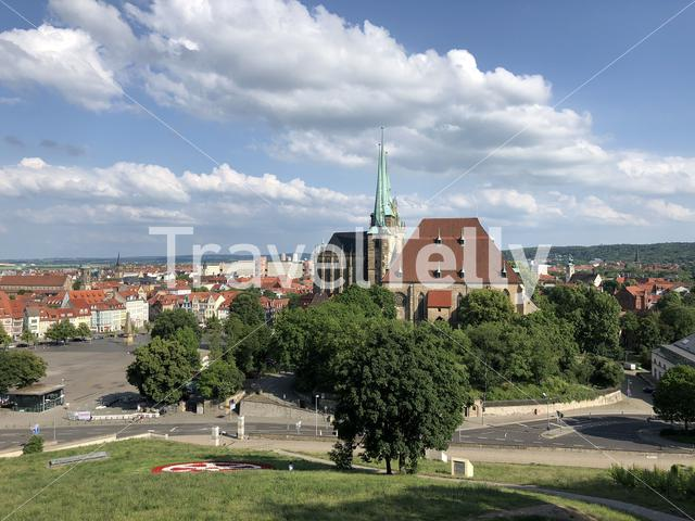 View from the Petersberg Citadel fortress in Erfurt, Germany