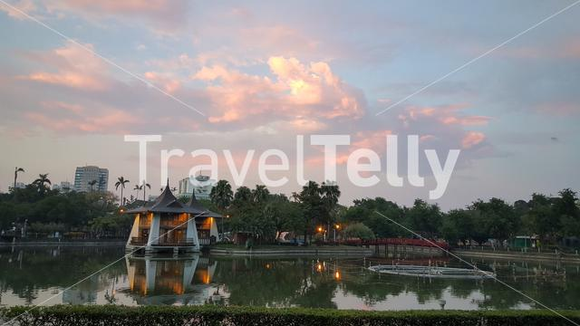 Sunset at Taichung Park in Taichung Taiwan