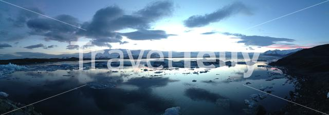 Panorama from the Jökulsárlón Glacier lagoon during sunset in southeast Iceland