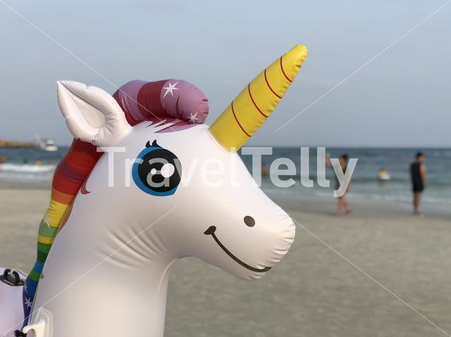 Inflatable unicorn at Koh Samet island in Thailand