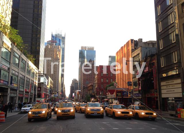 Taxis waiting in West 48th and 8th street in Manhattan, New York City