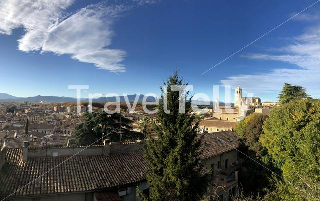 Panorama from the old town of Girona Spain