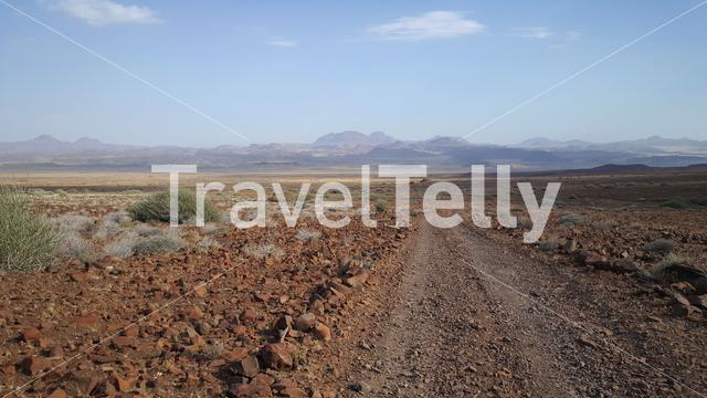 Dirt road at Damaraland Aba huab riverbed in Namibia