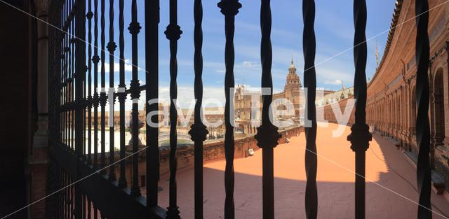 Panorama view from the balcony at the Plaza de España in Seville Spain