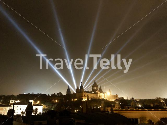 Lights shining over Parc de Montjuïc in Barcelona, Spain