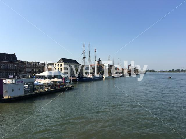 River the IJssel with the city Kampen in The Netherlands