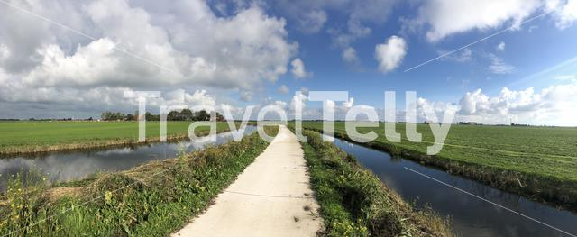 Frisian landscape panoramic in The Netherlands