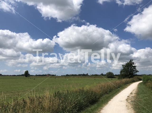 Bicycle path towards IJlst, Friesland The Netherlands