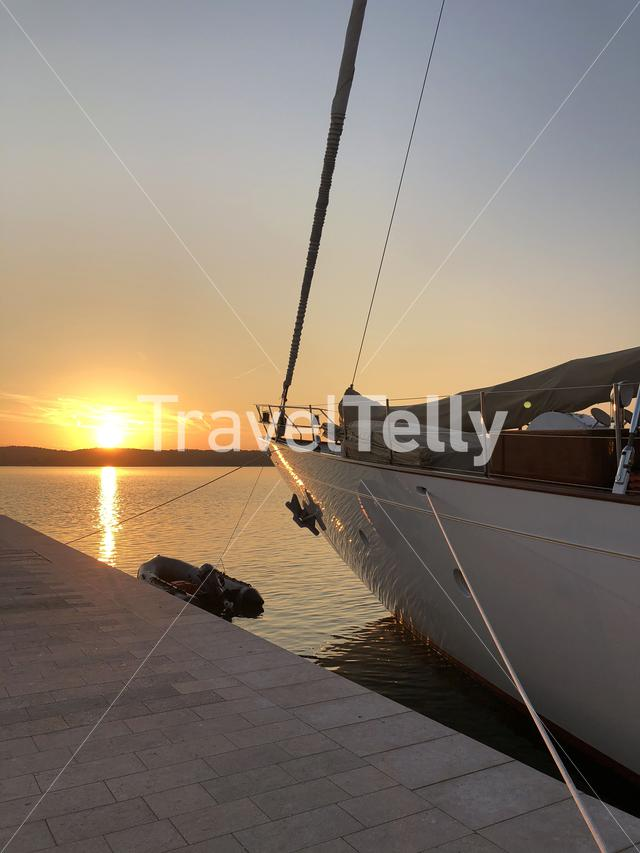 Sunset in harbor of Pula, Croatia